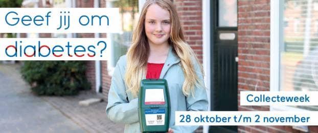 Foto van meisje met collectebus en tekst Geef jij om diabetes? Collecteweek 28 oktober t/m 2 november