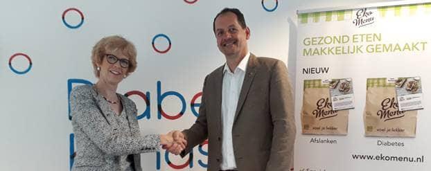 Ekomenu en Diabetes Fonds starten gezonde samenwerking en schudden elkaar de hand