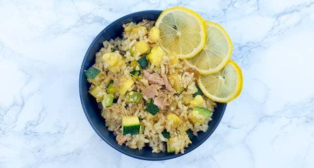 Rijst met tonijn en pesto