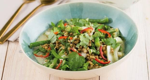 Groene curry met sperziebonen