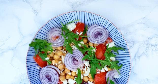 Kikkererwten-tomatensalade