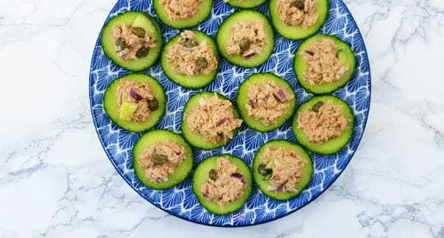 Komkommer toastje met tonijnsalade