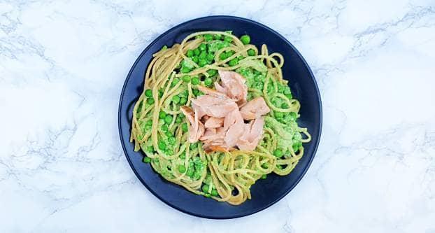 Romige spaghetti met zalm