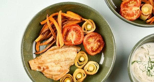 Scholfilet met gepofte tomaat