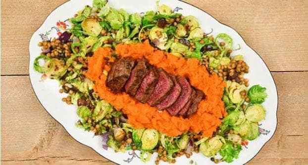 Biefstuk met wortelpuree