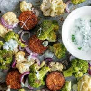 Geroosterde groenten met hennepburgers
