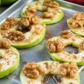 Appelkaneelschijfjes met walnoten
