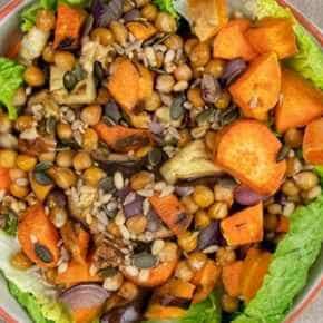 Aubergine-zoete aardappelsalade